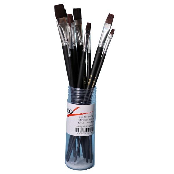Elco Acrylmalpinsel-SET Flach 12-tlg. serie 5012 6070