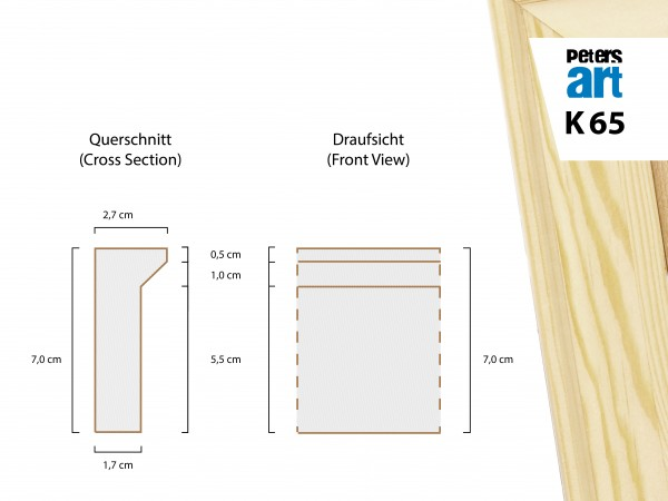 Keilrahmen Leiste K65 (2,7 x 7,0 cm)