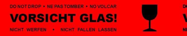 """Rotes Klebeband """"Vorsicht Glas"""" 50mm"""