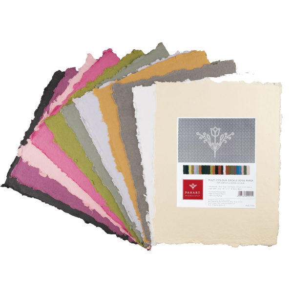 PANART Colored Deckle Edge sheets 22x28cm, Pack of 25