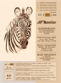 Leniar Skizzenblock Creme und Braun Papier (Zebra) Nr.9088