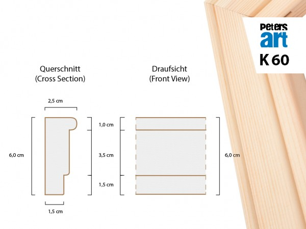 Keilrahmen Leiste K60 (2,5 x 6cm)