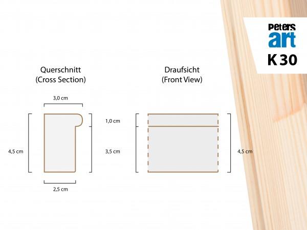 Keilrahmen Leiste K30 (3,0 x 4,5 cm)