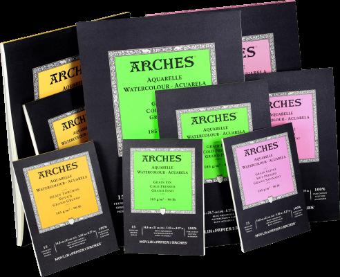 Arches Aquarellpapierblöcke kopfgeleimt - naturweiß 185g