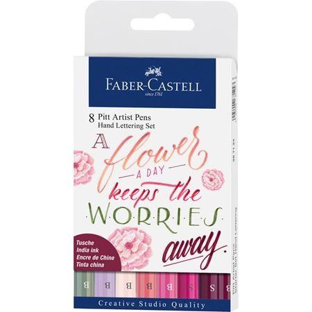 Faber-Castell Tuschestift Pitt Artist Pen Handlettering 8er Etui Rosatöne