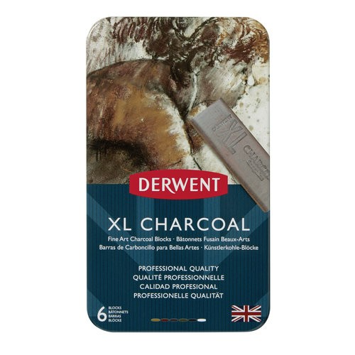 Derwent XL Charcoal Blocks, Metal Tin, 6 Count