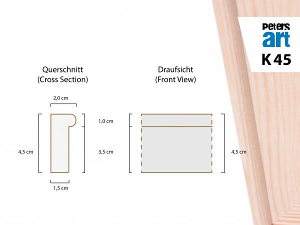 Keilrahmen Leiste K45 (2,0 x4,5 cm)